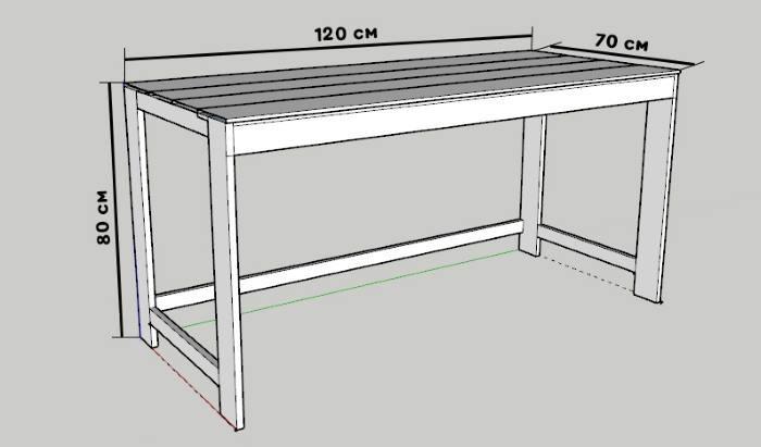 Фото чертежа стола из деревянных поддонов